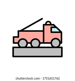Fire engine, transport icon. Simple color with outline vector elements of firefighters icons for ui and ux, website or mobile application