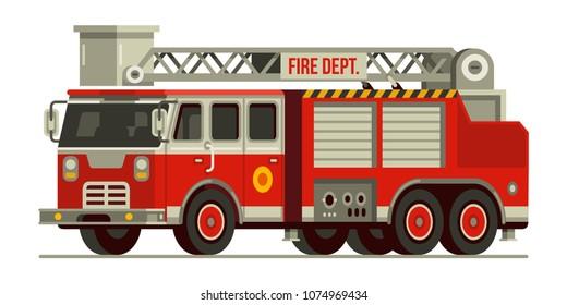 fire engine truck emergency vehicle fire departement vector illustration