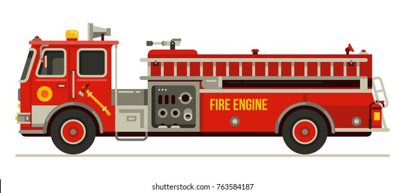 fire engine truck emergency vehicle in modern flat style vector illustration