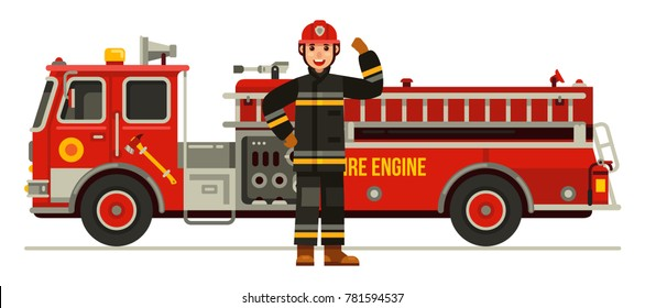 fire engine truck and strong fireman in uniform flat style vector illustration