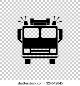 fire engine vector icon - black illustration