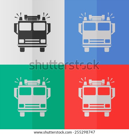 fire engine vector icon effect folded stock vector (royalty free Fire Engine Diagram for Students fire engine vector icon effect of folded paper colored (red, blue,