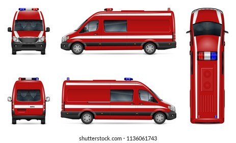 Fire engine vector mockup on white background. Isolated template of red van for vehicle branding, corporate identity. View from side, front, back, and top, easy editing and recolor.