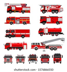 Fire engines, fire trucks collection. Isolated. Vector illustration.