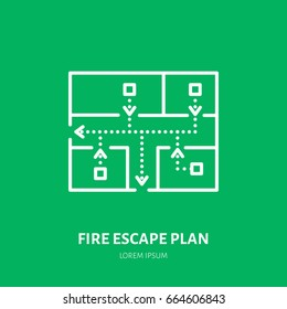 Fire escape plan flat line sign. Flame protection thin linear icon, pictogram.