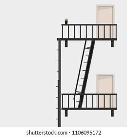 Fire escape vector. door vector. free space for text. wallpaper. background.