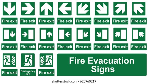 Fire Evacuation Signs Isolated on a White Background