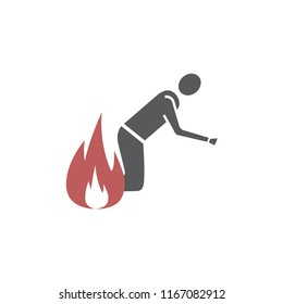 Fire evacuation vector sign. Burning man. Conflagration icon