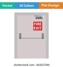 Fire exit door icon. Flat color design. Vector illustration.