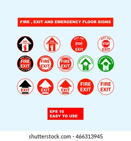 Fire, exit and emergency floor signs design illustration for safety first