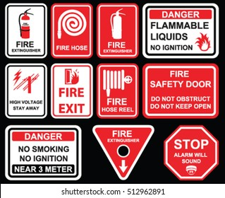 Fire exit, Fire extinguisher, high voltage stay away, danger no smoking , no ignition near 3 meter for Building construction site Hazard warning,  Industry Health and Safety mandatory signs