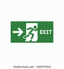 fire exit icon, emergency exit vector