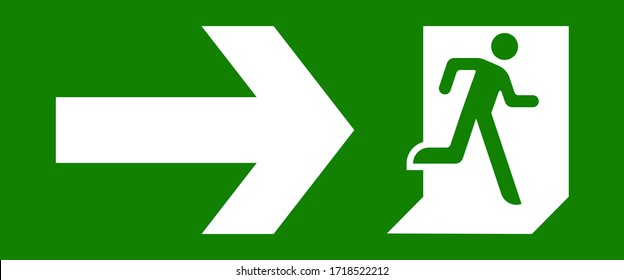 Fire Exit sign, emergency door symbol, evacuation icon. public signage vector illustration