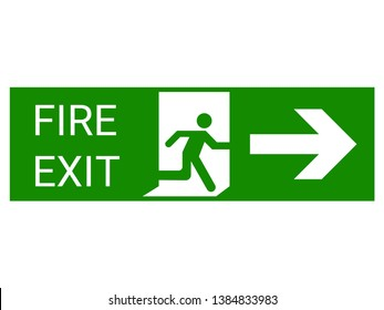 Fire exit sign, Green emergency exit sign. Design by Inkscape.