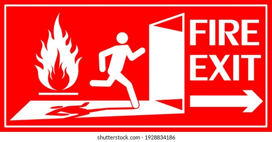 Fire exit sign. Running human figure and Emergency fire exit door