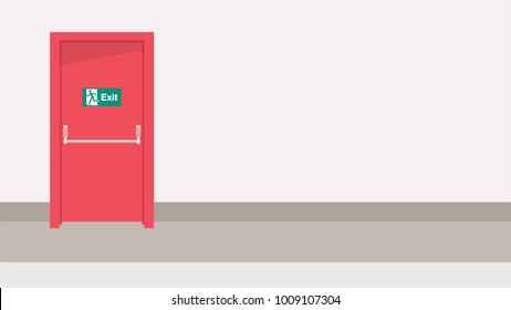 fire exit vector. free space for text. wallpaper. background.
