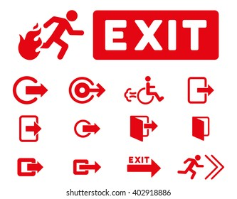 Fire Exit vector icon set. Style is red flat symbols isolated on a white background.
