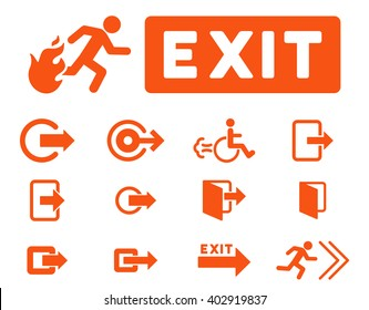 Fire Exit vector icon set. Style is orange flat symbols isolated on a white background.