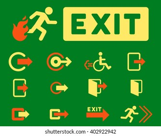 Fire Exit vector icon set. Style is bicolor orange and yellow flat symbols isolated on a green background.