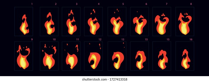 Fire explosion sprite. Fire explode effect for animation, sprite sheet for game, cartoon or animation burst explosion.-vector