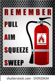 FIRE EXTINGUISHER WITH CARBON BACKGROUND VECTOR