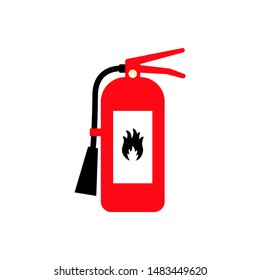 Fire extinguisher cartoon flat colored icon with fire sign.
