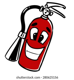 fire extinguisher. cartoon vector illustration, hand drawn, sketch style, isolated on white background.