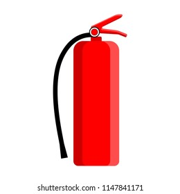 Fire extinguisher flat design color icon. Firefighting equipment cartoon illustration. Tool for emergency fire extinguishing. Vector isolated object