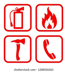 Fire extinguisher icon. Flat fire safety - vector