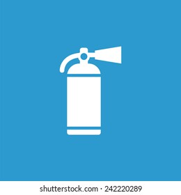 fire extinguisher icon, isolated, white on the blue background. Exclusive Symbols