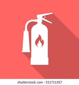 Fire extinguisher icon with long shadow. Flat design style. Extinguisher simple silhouette. Modern, minimalist icon in stylish colors. Web site page and mobile app design vector element.