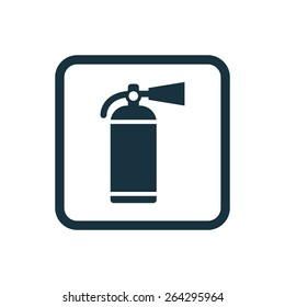 fire extinguisher icon Rounded squares button, on white background