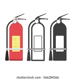 Fire extinguisher icon set. Set of fire equipment icons from the fire department. Vector illustration EPS 10.