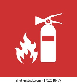 fire extinguisher icon or sign, isolated on white background,  vector Illustration