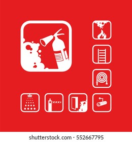 Fire extinguisher icon. White sign on the red background. Graphic pictograms. Exclusive symbols. Set of isolated vector icons.