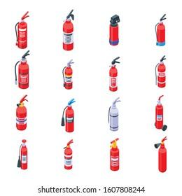Fire extinguisher icons set. Isometric set of fire extinguisher vector icons for web design isolated on white background