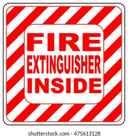 Fire extinguisher inside text banner vector illustration striped in white and red