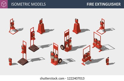 Fire Extinguisher - Isometric Vector Illustration. Firefighter Equipment. Set of Safety Equipment.