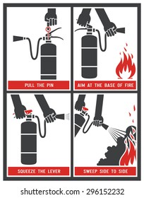 Fire extinguisher label. Fire extinguisher signs. Vector illustration.