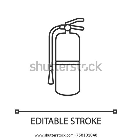 Fire Extinguisher Linear Icon Firefighting Equipment Stock Vector