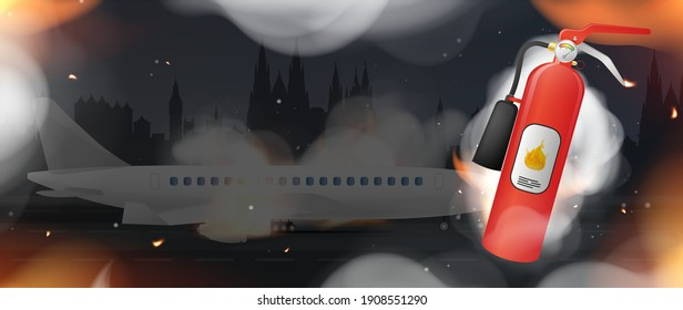 Fire extinguisher on fire and smoke. Burning plane in the background. Icon for design on the theme of fire safety. Vector