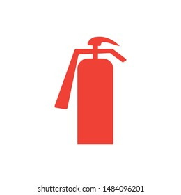 Fire Extinguisher Red Icon On White Background. Red Flat Style Vector Illustration.