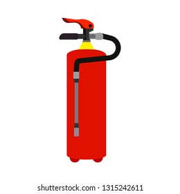 Fire extinguisher red safety tool pressure protect flammable  industry flat. Firefighting equipment vector icon foam department