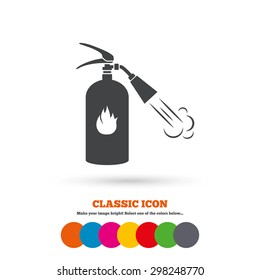Fire extinguisher sign icon. Fire safety symbol. Classic flat icon. Colored circles. Vector