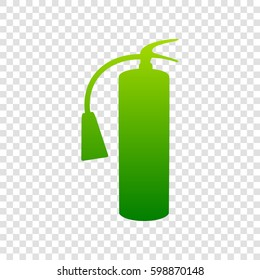 Fire extinguisher sign. Vector. Green gradient icon on transparent background.