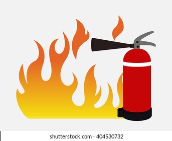 Fire with Fire Extinguisher Vector
