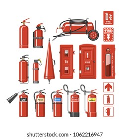 Fire extinguisher vector fire-extinguisher to for safety and protection to extinguish fire illustration set of extinguishing equipment of firefighter isolated on white background