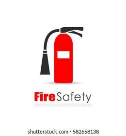 Fire extinguisher vector logo illustration isolated on white background. Extinguisher eps icon.