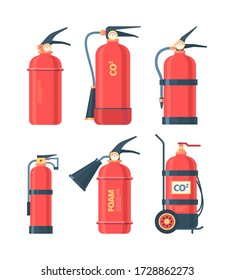 Fire extinguishers set. Autonomous chemical powder foam red flame extinguishers prevent risk fire with spray hose CO2 sticker instructions protecting safety of home warehouse. Vector cartoon style.