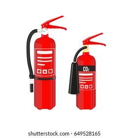 Fire extinguishers set isolated on white background. Vector illustration.